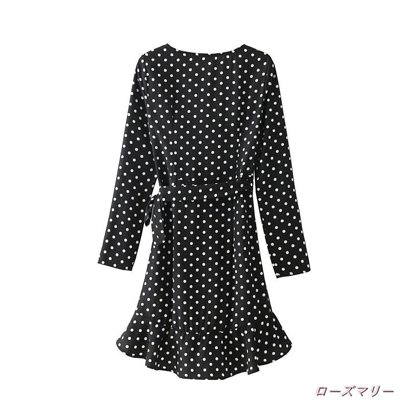 【ローズマリー】波の時にプリントの双襟のVネックレースワンピース新品腰着やせ·ベンツの短いスカート プリント ヴィンテージ調 フィットスタイル 大人気 -QQ3329