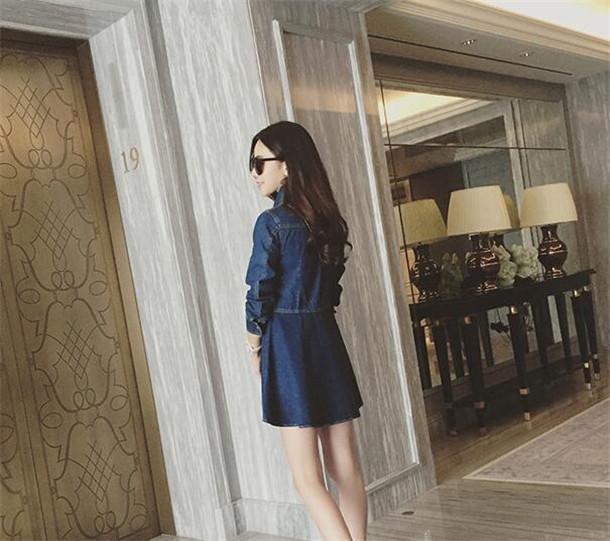 【2017秋新作ワンピース】レディース  デニム ワンピース セクシーな  韓国ファッション 繊細ペイズリーパターン 送料無料 レディースファッション  長袖 上品ワンピース Aライン ブルー