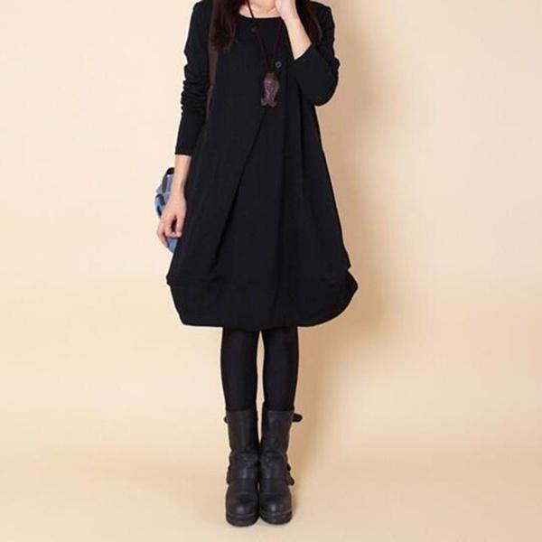 ファッション女性の秋ロングスリーブシャツブラウスカジュアルコートドレスNew!