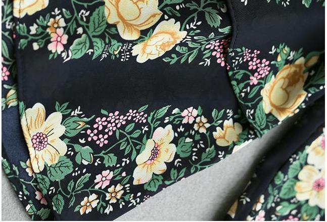 レディース シフォン フォークロア調 7分袖 ワンピース Vネック ミモレ丈 花柄