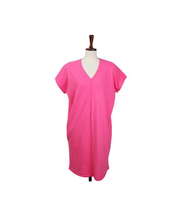 女性 Tシャツワンピース 綿麻 無地 韓国ファッション Tシャツ 大人の女性の必須 シンプル ドルマンスリーブ Vネック 短袖  レディース スリム・ライン 着痩せ 夏ファッション ワンピース 大きめ