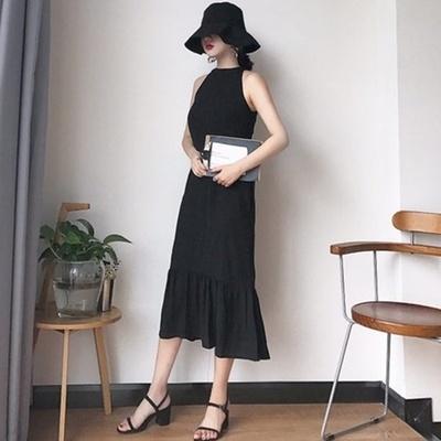 韓国 アンティーク調 気質 着やせ 魚尾 ワンピース  フリル タンクドレス 学生 ドレ
