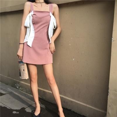 韓国 アンティーク調 肩なし 個性 リボン 包帯 スリング ブラジャー ワンピース  女