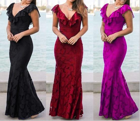 2017エレガントな女性は、深いVネックボディコンレースフラワーフォーマルなイブニングドレス、赤/黒/フシシア(