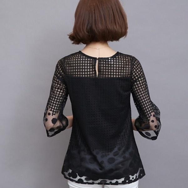 2016女性のブラウスエレガントなシャツルーズOネック3/4スリーブの女性のトップスレースシャツブラウスプラスサイズM  -  5