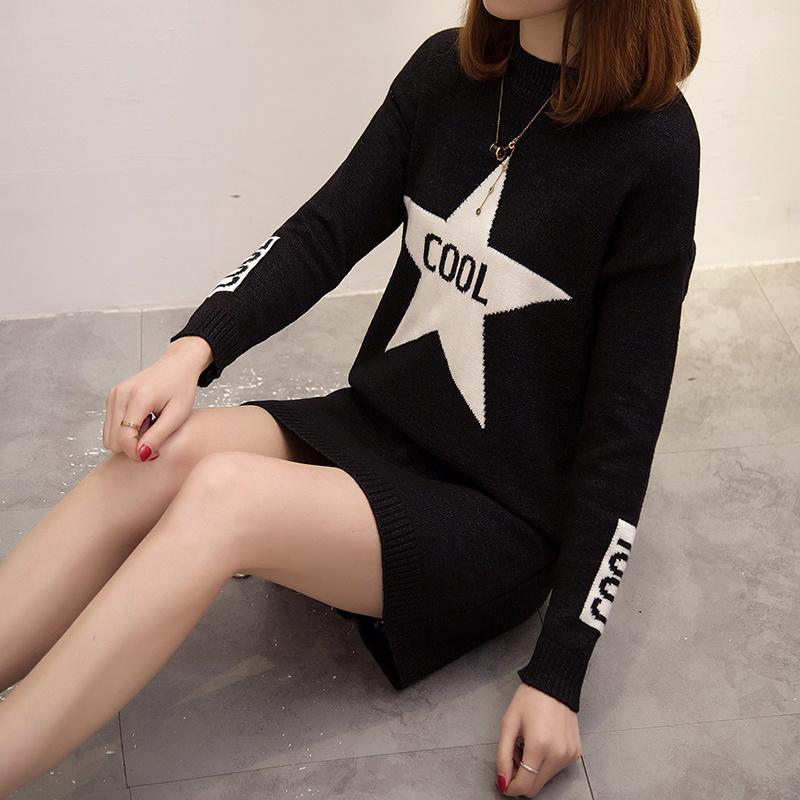 レディース服 女性 ニットウェア ワンピース ファッション お洒落 韓国風 プルオーバー セーター クルーネック 丸首 ポケット ロング丈 長袖