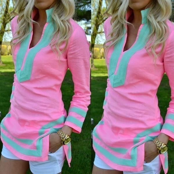 女性スリットファッショントップスタンドCollor VネックスリムサマーシャツブラウスロングスリーブTシャツ