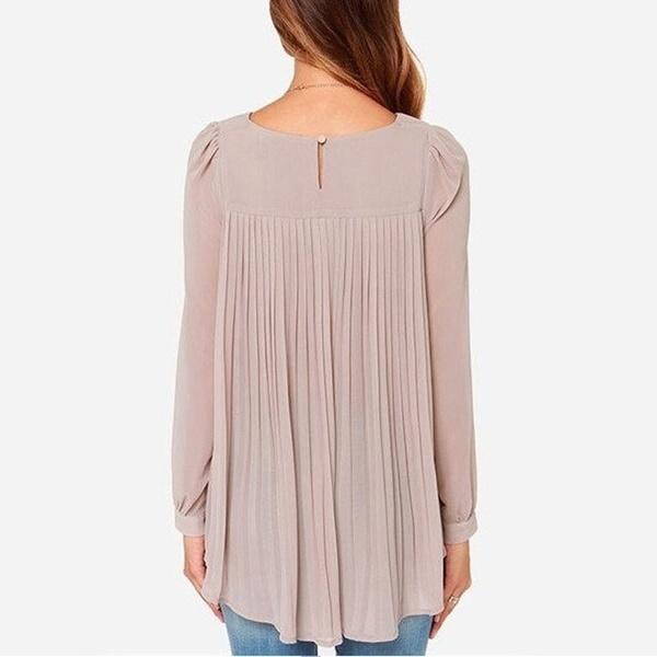 女性不規則な裾シフォンカジュアルトップスブラウスシャツプリーツオーバーサイズ
