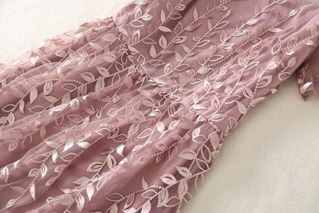 ワンピース レディース 半袖 ロング ロング丈 ロングワンピース 刺繍 シースルー リーフ 柄 ピンク 夏 大人 上品
