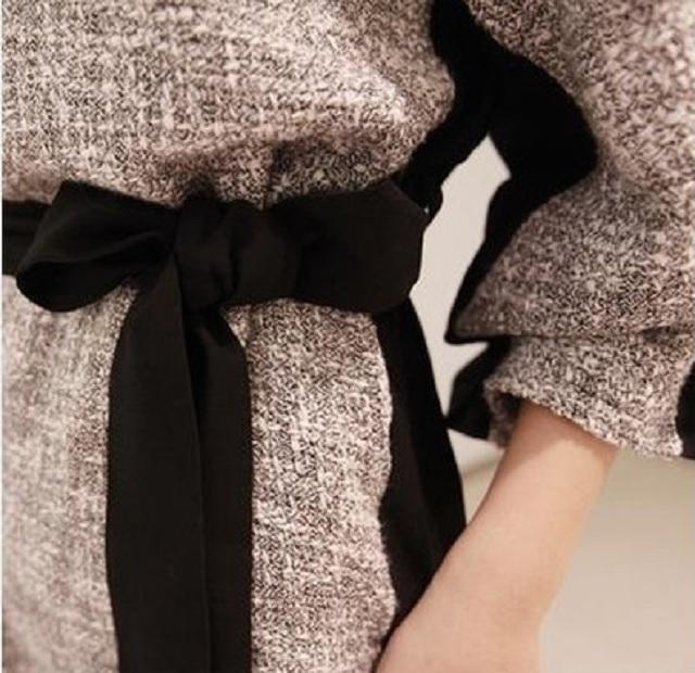 【送料無料】【即納】バイカラー 切り替え ワンピース ミニ ゆったり バルーンシルエット 着やせ きちんとコーデ 大人 Lサイズ
