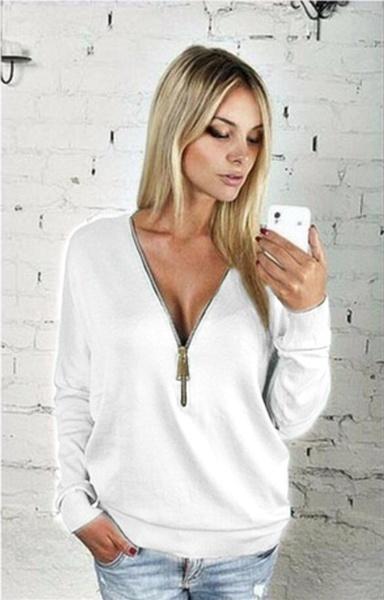 女性ファッションジッパーTシャツ長袖セクシーなディープVネックブラウスプルオーバーシャツプラスサイズS-5XL 7