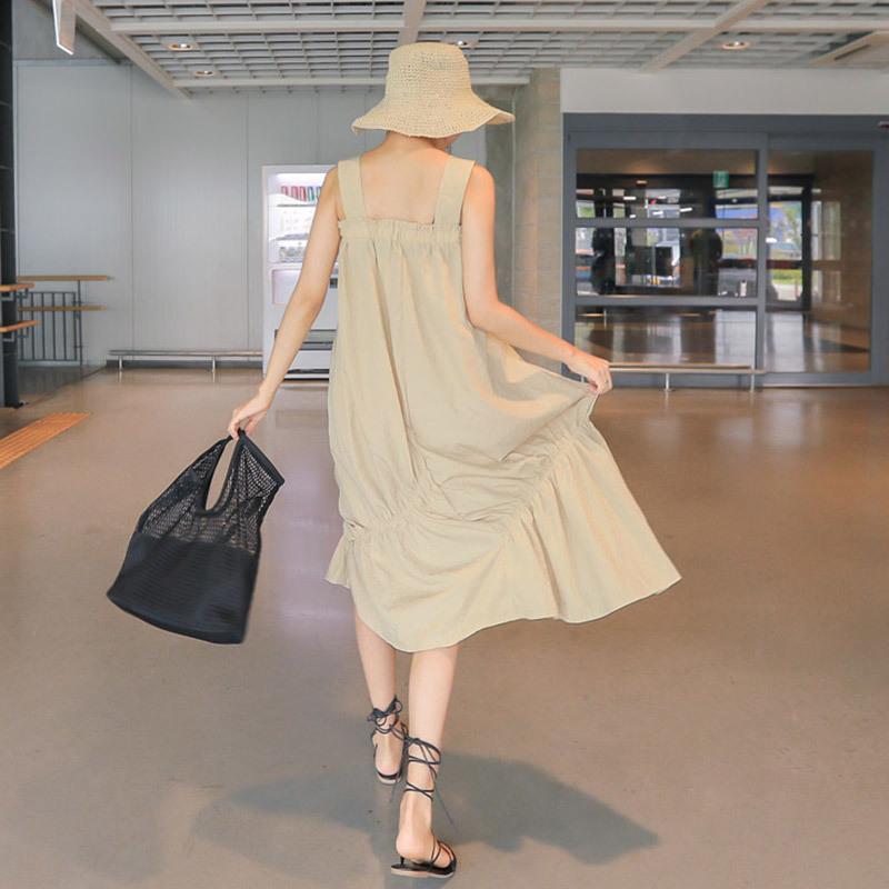 PPGIRL(韓国ファッション)♥送料 0円★PPGIRL_A218 Romance dress / sleeveless long dress / romantic mood / shirring / frill dress /