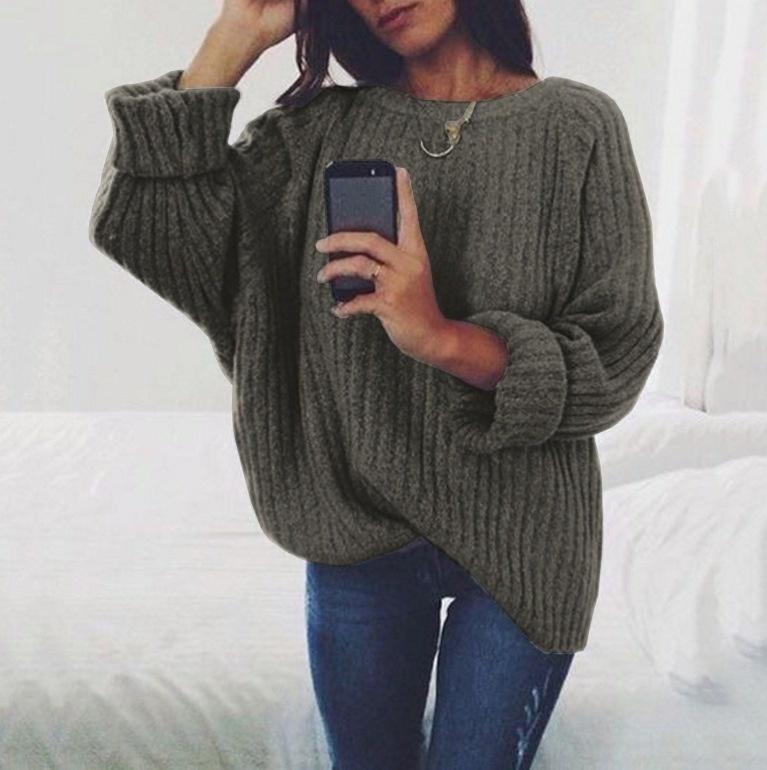 6カラー秋の冬の女性のセーターとプルオーバー編みセーター