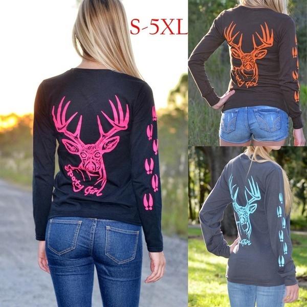 女性のファッションプラスサイズのディアートラックプリント長袖コットンTシャツスウェットシャツS-5XL