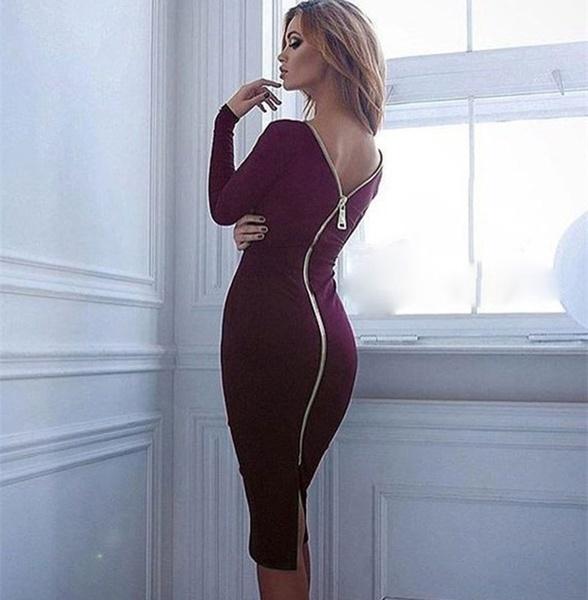 女性のセクシーなスリムバックジッパーのドレスロングスリーブソリッドドレスニースカート