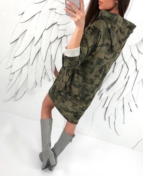 カジュアルな女性のカモフラージュドレスプラスサイズコットンロングスリーブフード付きトップスルーズシャツワンピーススウェット