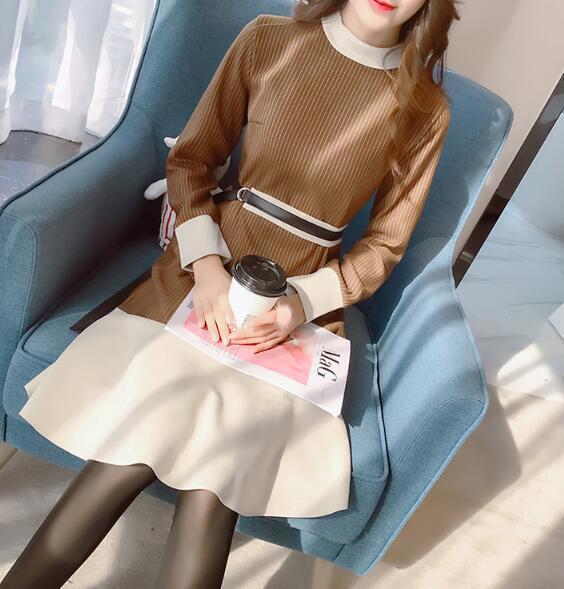 韓国ファッション女子力UP Aラインミニワンピース ♥ショートワンピース レース切り替えし