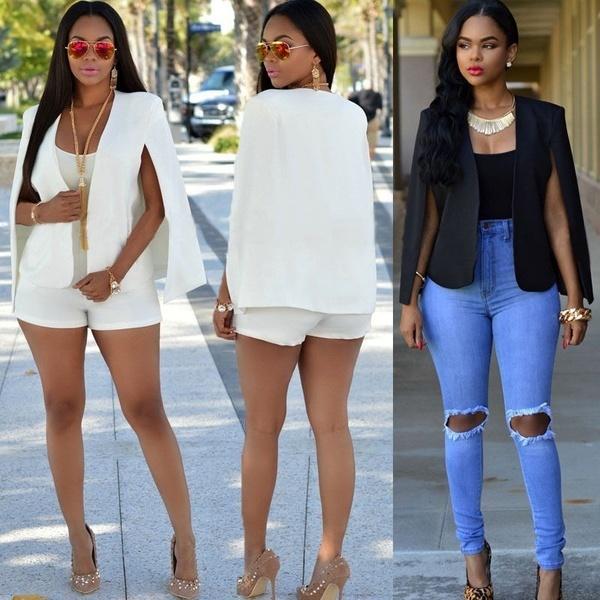 ファッション女性スリムラペルケープカジュアルビジネスブレザースーツジャケットコートアウター