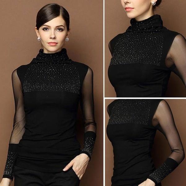 ファッション女性ロングスリーブシャツカジュアルレディースブラウスコットントップスTシャツ