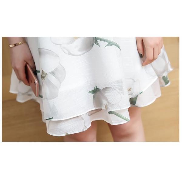 【送料無料】レディース ワンピース 花柄 スカート ホワイト グリーン ミニスカート ノースリーブ  2017 新作