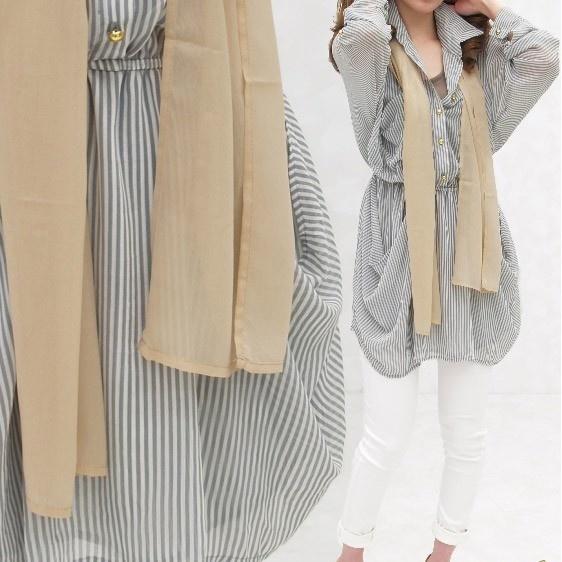 top84804 これ1枚でキレイ目スタイル完成スカーフ付ボーダーシャツブラウス【単品購入のみメール便対応可】