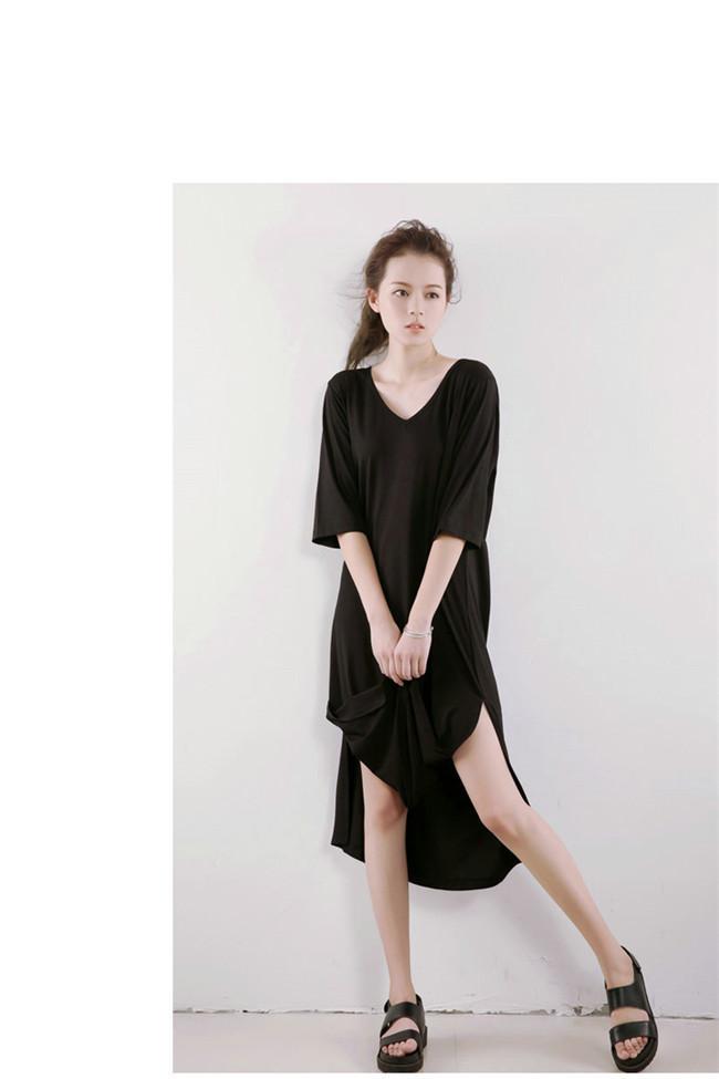女性 Tシャツワンピース 綿 無地 韓国ファッション Vネック Tシャツ 大人の女性の必須 サイドスリット シンプル ドルマンスリーブ 短袖  レディース スリム・ライン 着痩せ 夏ファッション ワン