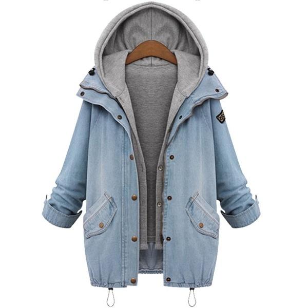 春の秋の女性二ピースフード付きジーンズジャケットスーツプラスサイズカジュアルデニムコート+スエスシャツベスト