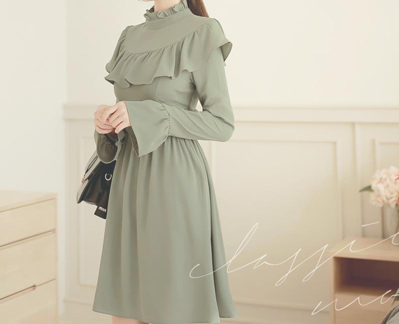 ドレス ワンピース 大きいサイズ 小さいサイズ フリル メイド風 リメンバーラッフルワンピース