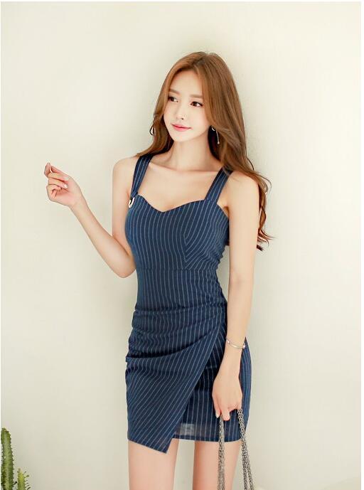 レディースワンピース ミニタイトドレス イベントノースリーブ 韓国風セクシー ストライプキャバ