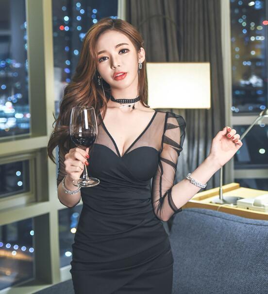 ♥韓国ファッション♥OL、正式な場合、礼装ドレス♥セクシーなワンピース、一字肩♥二点セット、側開、深いVネック♥やせて見える、ハイウエスト
