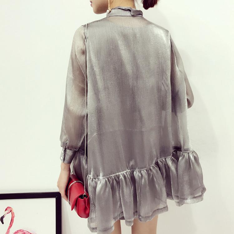 シャツブラウス+タンクトップ/二点セット/レディース/襟リボン/シャツワンピース/フレア裾/長袖/ゆったり/光沢/ハイネック/スタンド襟/フリル裾/A