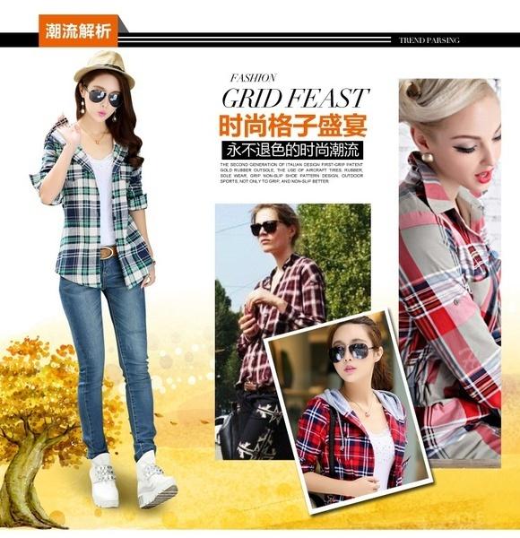 新ファッション秋の女性スリムロングスリーブパーカーカジュアルシャツチェックシャツトップス