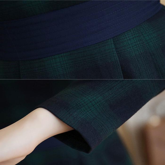 あす楽対応【送料無料】ワンピース チェック 長袖 ショート チェック柄 韓国風  お嬢様 結婚式 発表会 同窓会 カジュアル 赤 グリーン 緑  SMLXL  大きいサイズ 20代 30代 40代 レ