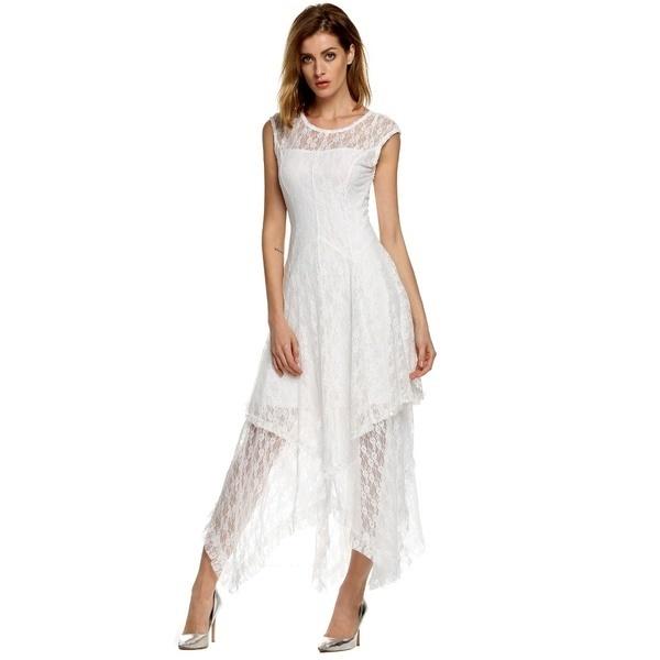 EUサイズの女性シアーレースダブルストラップ付きストラップ付きロングドレスビーチドレス