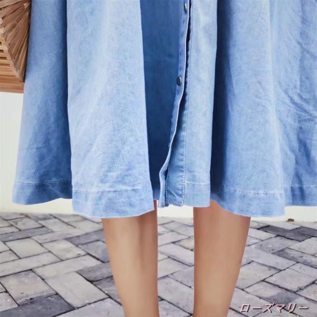 秋服花刺繍で精緻な新品背中マキシ袖口リングベルト腰デニムのドレス デニムワンピース スイート 花柄 ヴィンテージ調 刺繍レース 大人気-QQ1439