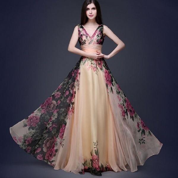 2017新しいファッション女性のセクシーな花のドレスノースリーブエレガントなVネックのロングドレスイブニングパーティープロムブリー