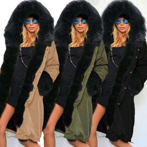 女性の冬フェイクファーフード付きプラスサイズパーカージャケットコートシックニングパンクスタイルオーバーコート