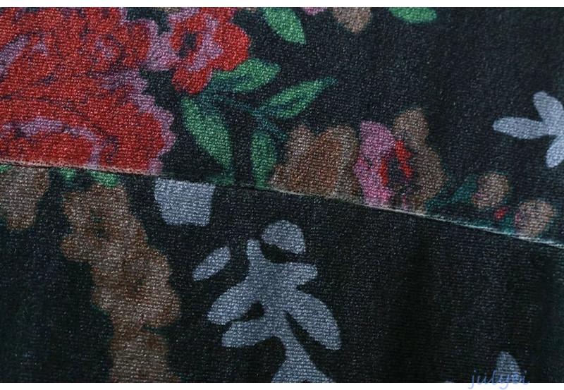 欧米風 レディース レトロ 花柄ベルベットワンピース 着痩せ 半袖 チュニックワンピース