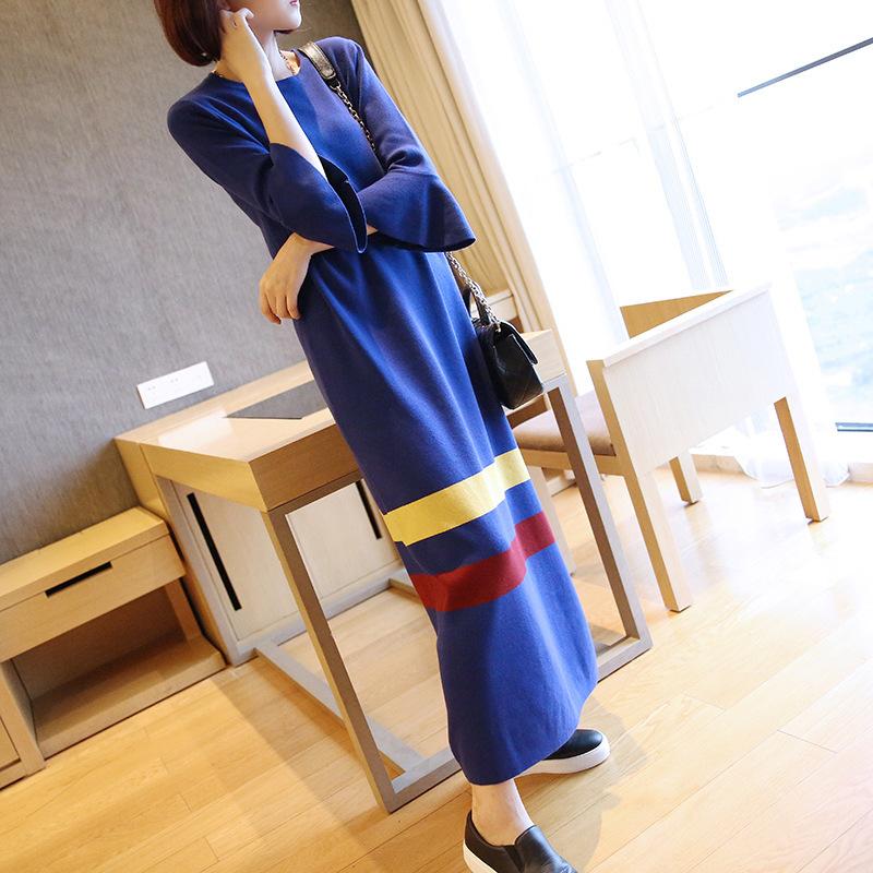 2017早秋  韓国ファッション  レディース  ワンピース 流行 体型 カバー  ニット 長袖 可愛い  上質  YDY01