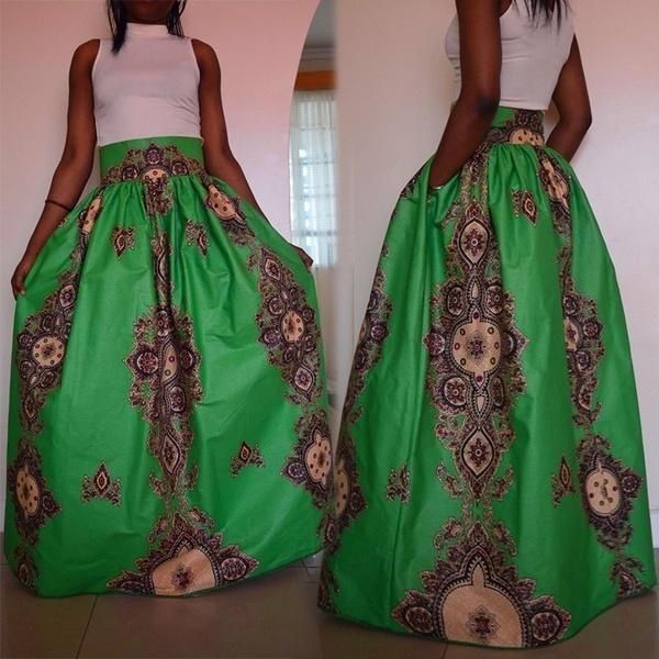 アフリカのプラスサイズの女性はハイウエストの部族の長いマキシプリーツスイングスケータースカートS  -  XXXXXLを印刷