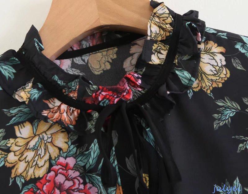 欧米風 花柄 ワンピース 長袖 お嬢様系 ボヘミア 小柄 花柄ワンピース   カジュアル ロング丈 ワンピース レディース