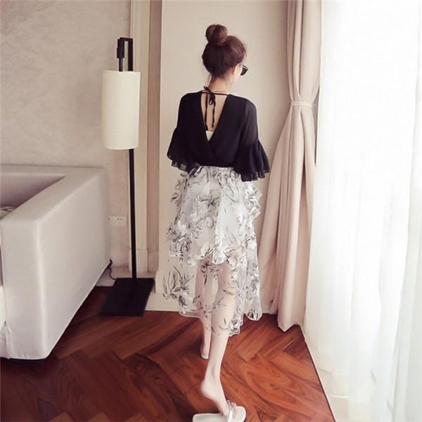レディースワンピース 韓国無地 スリム 韓国のファッション 上品  学院? Vネックシフォンワンピース プリントワンピース  ハイセンス 着心地いい おしゃれ 夏 スリム セール★ レディースワンピース