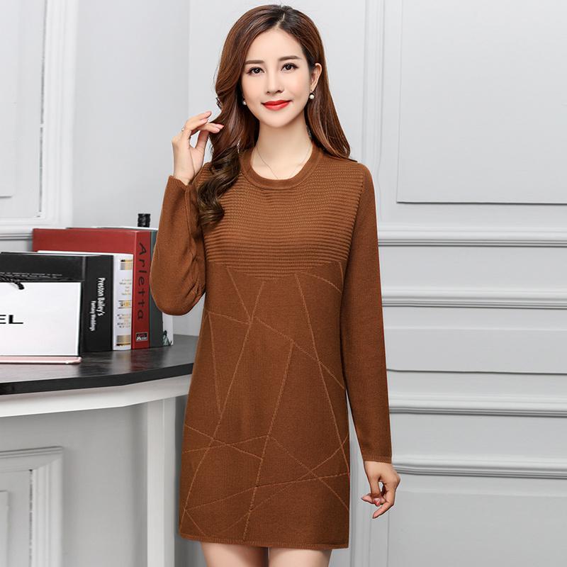 レディース服 ニットウェア ワンピース セーター お洒落 レースアップ プルオーバー ミドル丈 無地 ガーリー 優しい印象 オーバーサイズ 女性 韓国風 ファッション