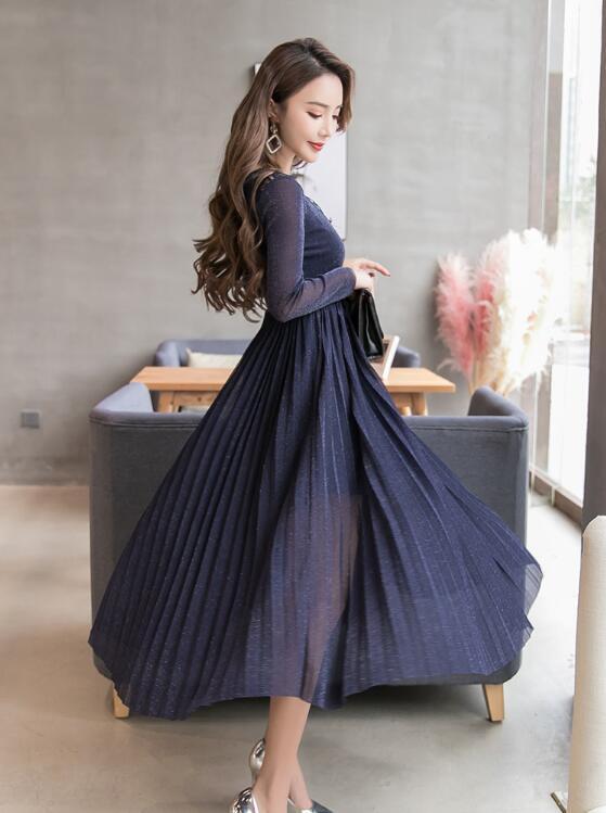 [55555SHOP]韓国ファッション ♥限定発売♥上品&ガーリー♡レトロ レース ♪ ワンピース/シャーリングディテール ワンピース