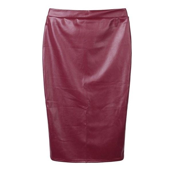 女性フェイクレザースカートバンデージボディコンヴィンテージハイウエストペンシルスカート