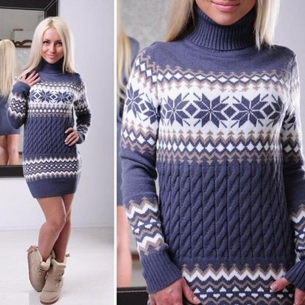 レディースファッションセーターパーカープルオーバーカジュアル編みコットンドレス暖かい冬