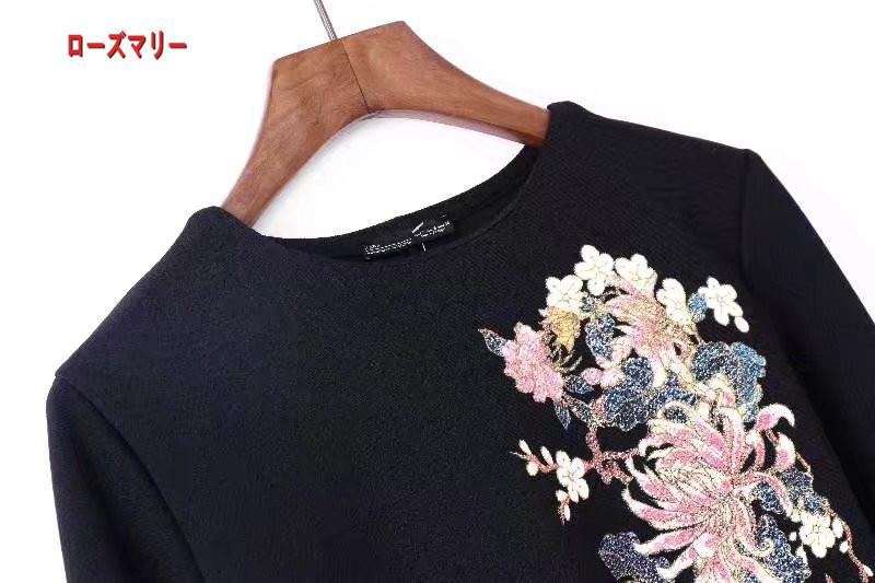 【ローズマリー】秋冬の新型女装圧ゴム2017プリントクルーネック長袖ワンピース  スイート 花柄 ヴィンテージ調  ベーシック 大人気 長袖ワンピース -QQ5942
