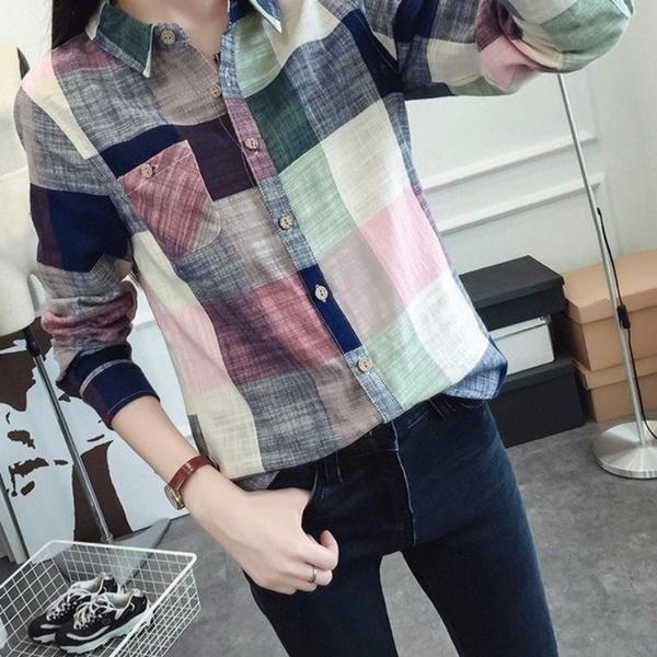 エレガントな女性のカジュアルチェックチェックボタンダウンTシャツ長袖トップスブラウス