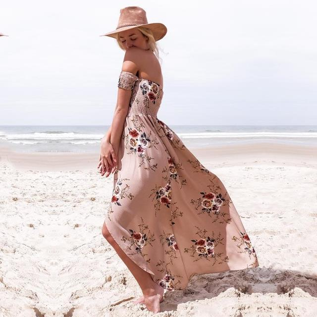 包まれた胸のビーチドレスプリントドレス海辺度