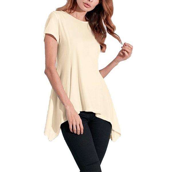 新しいS-XXXXXL夏の女性Irregualr裾のセクシーなPeplumスリムトップブラウスパーティーTシャツTees(黄色、ウィット